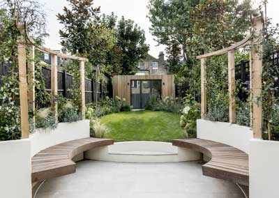 Back garden design, Crescent Lane, London