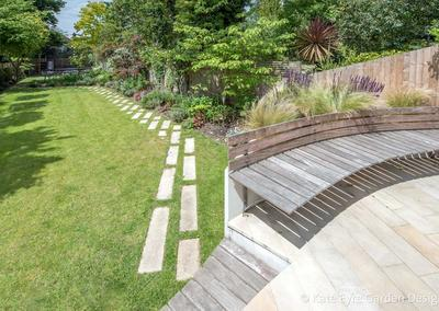 Large back garden design, Calton Avenue, Dulwich, London, 1
