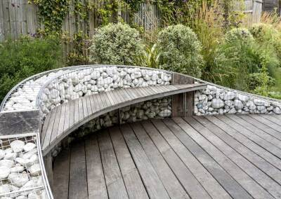Gabion wall with suspended bench, 3