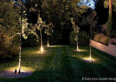 Large back garden design in Crystal Palace, South London, 11: evening view