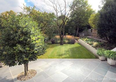 Large back garden design in Crystal Palace, South London, 7 - slate patio