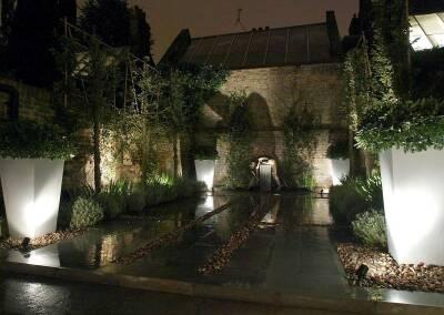 Small back garden design, Kensington, 4 (evening)