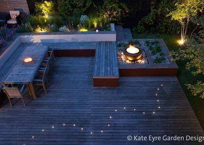 Decking and fire feature, Huf House Garden Design, Dulwich, 10