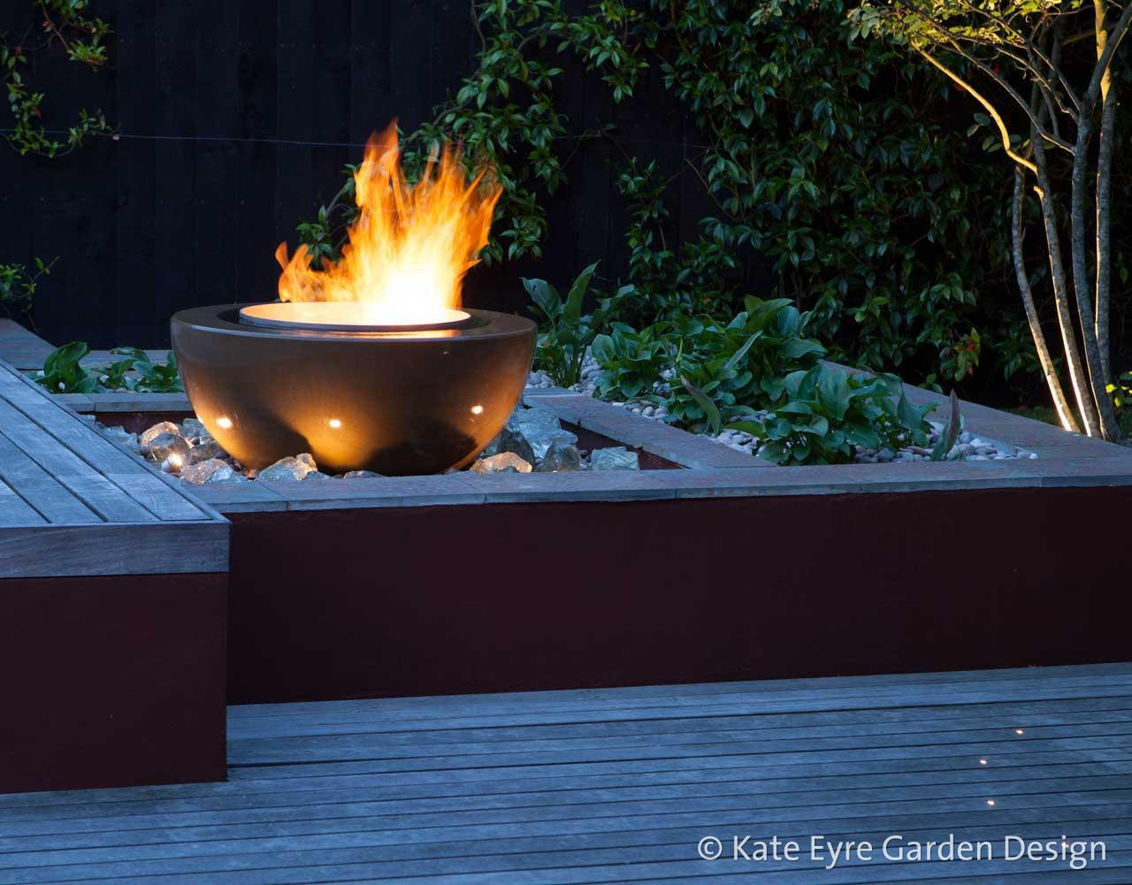 Fire feature, Huf House Garden Design, Dulwich, 11