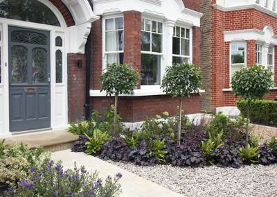 Front garden design in Turney Road, London, 2