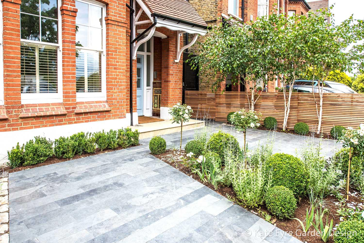 Front garden design in Calton Avenue, London, 1