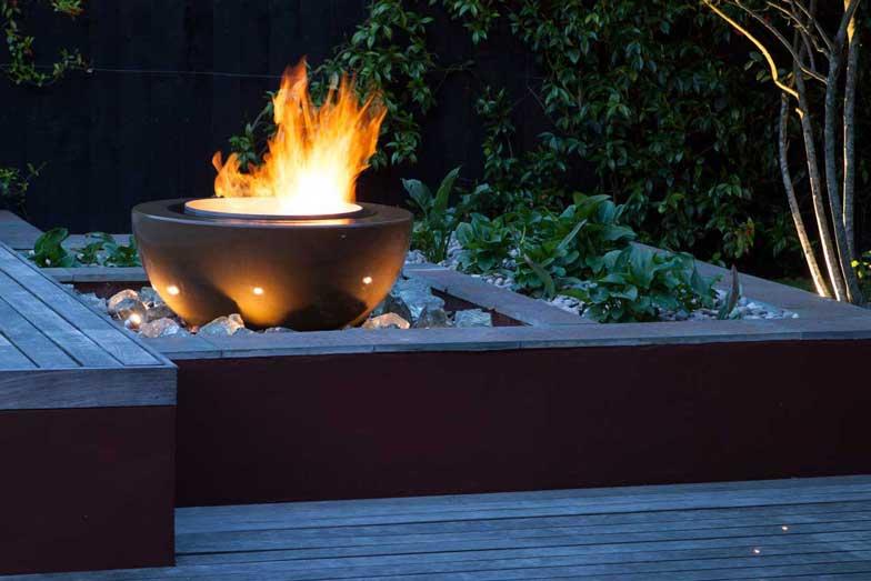 Garden fire feature, London