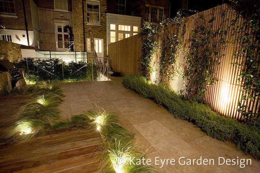 Small back garden design in Chelsea, 8 - night view