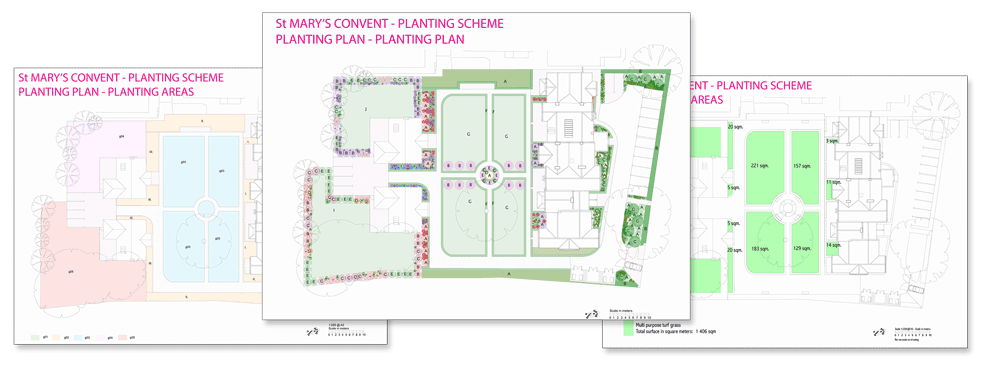 Planting plans, St Mary's Convent, Upminster