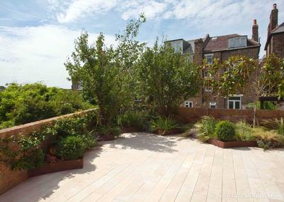 Patio in garden design in Crystal Palace, London